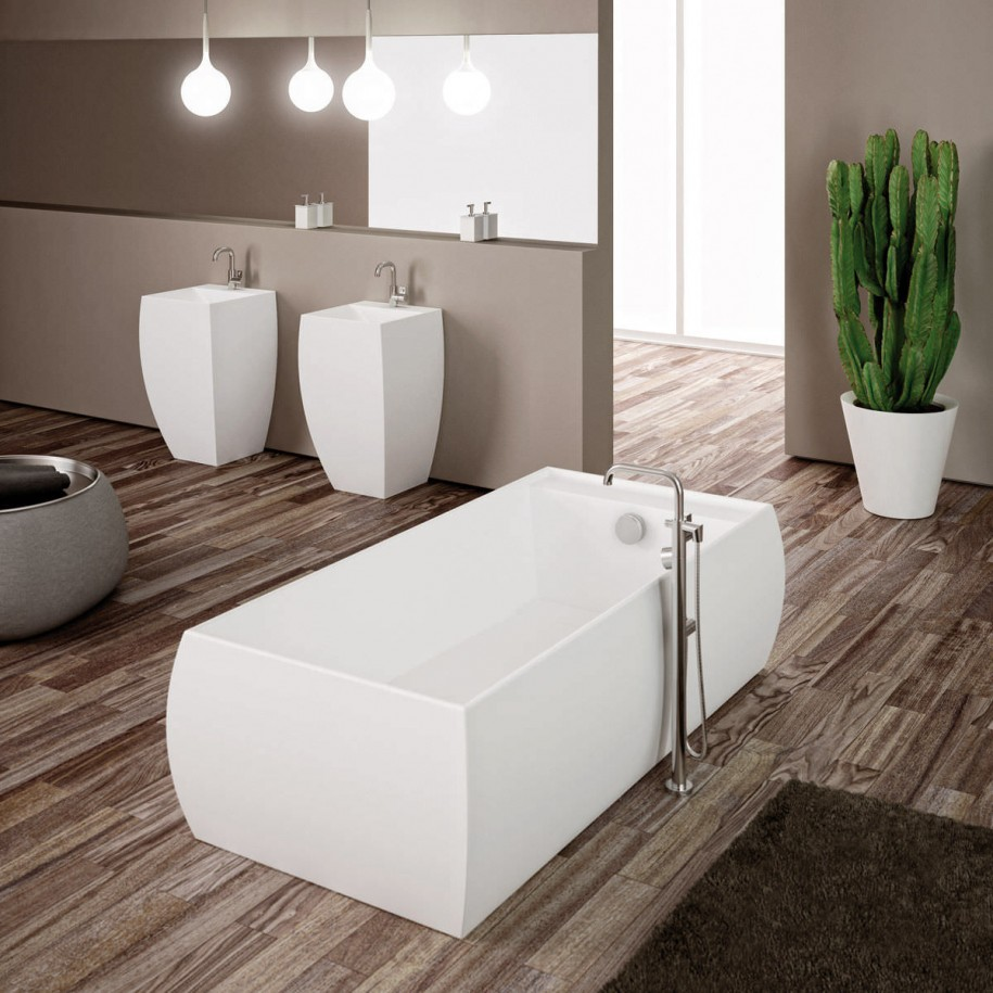 astonishing-bathroom-floor-covering-ideas-parquet-wood-flooring-white-modern-rectangular-corian-bathtub-design-with-freestanding-spout-corian-bathtub-best-modern-bathroom-desig