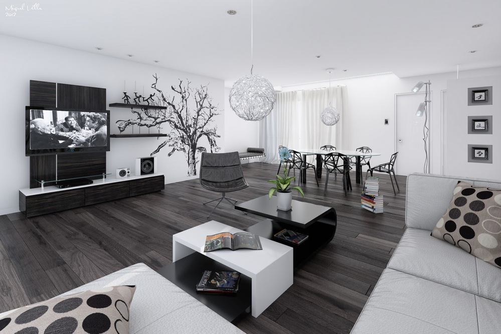 black-and-white-open-living-room-dining-room-interiors-with-unique-white-pendant-lamo-ideas