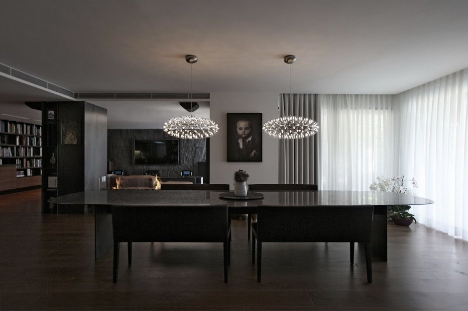 excellent-dining-room-design-with-amusing-large-table-and-long-bench-also-wonderful-pendant-lamp-stunning-dark-parquet-floor-inriguing-window-curtain-awesome-cupboard-astoundig