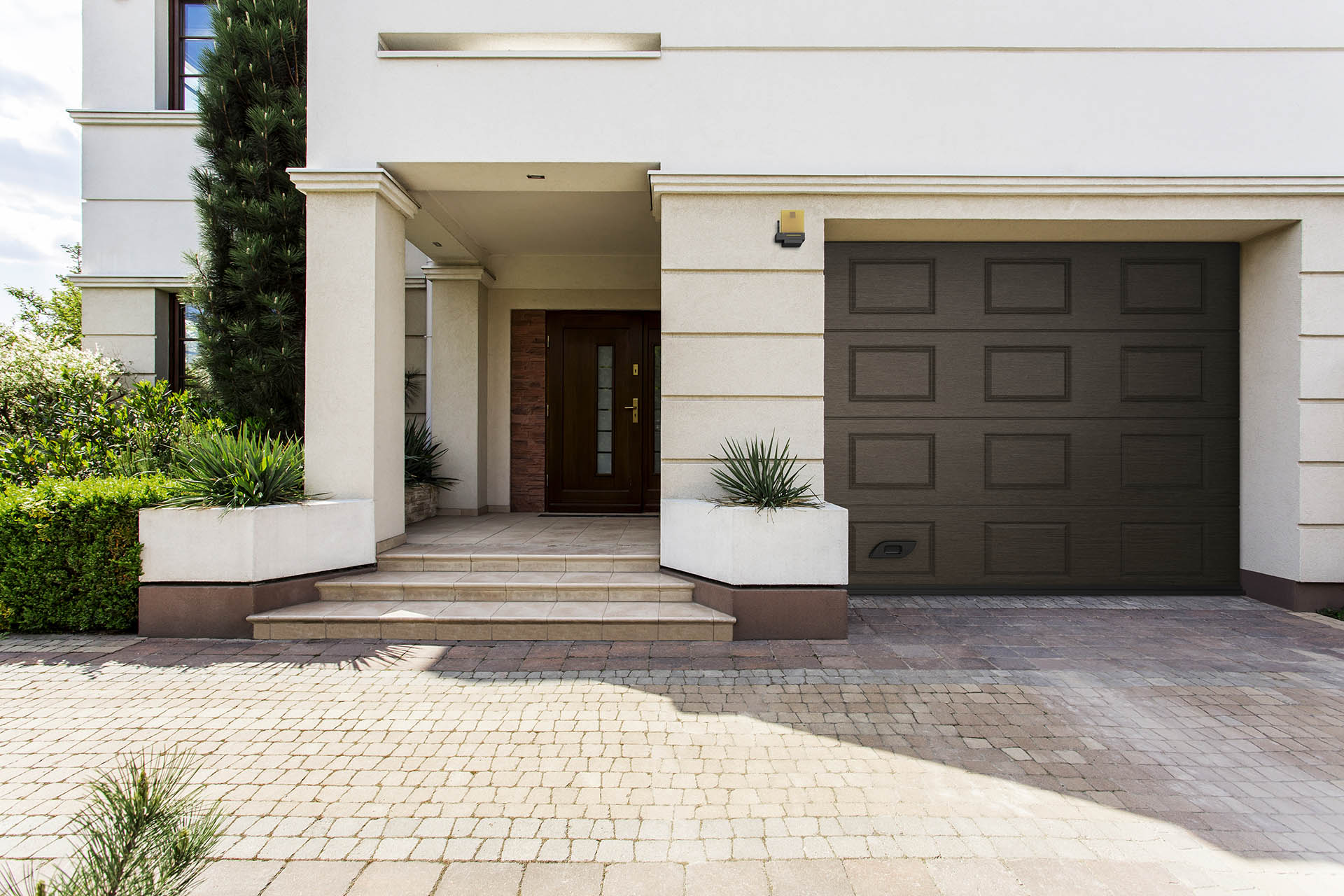 Shot of an entrance to a modern detached house