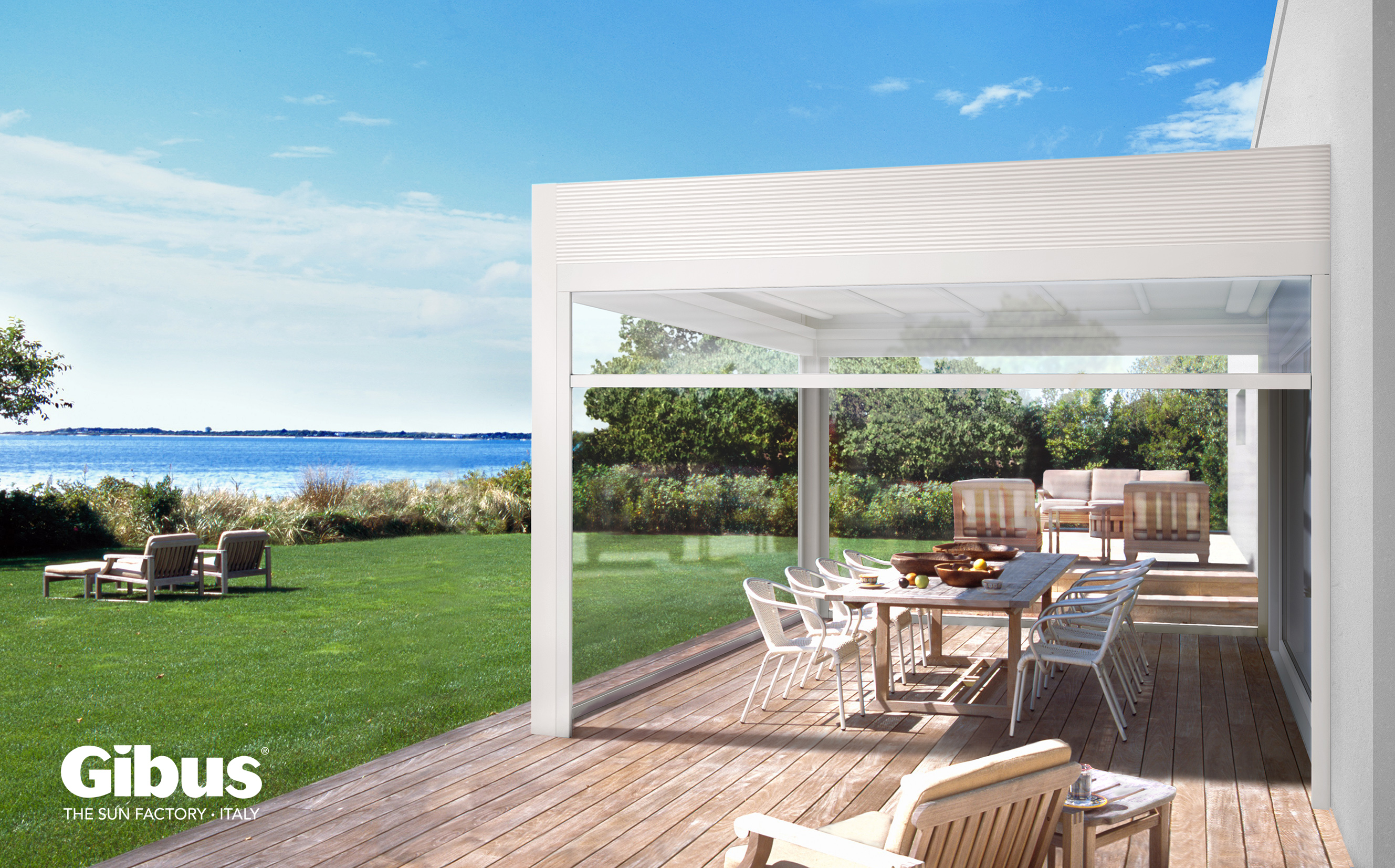 East Hampton, Long Island, New York State, USA --- beach house in Long Island with pergola and lounge chairs on the deck. --- Image by © Elliott Kaufman/Corbis